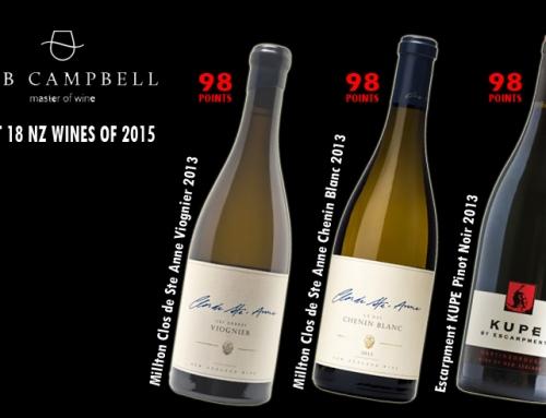 Millton & Escarpment: Bob Campbell's BEST 18 NZ wines of 2015